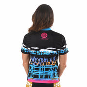 Model wearing Vista Collection Horizon Women's Biking Jersey Back