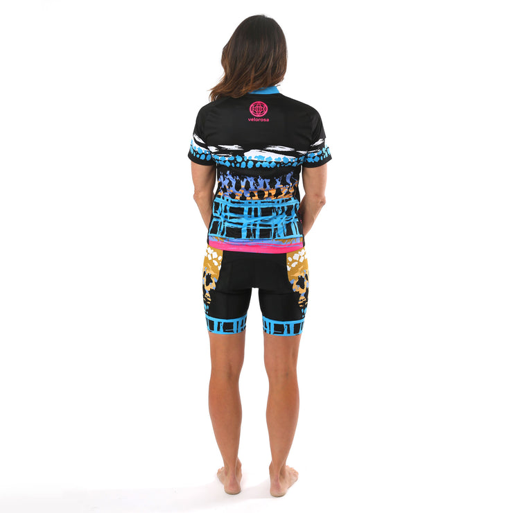Model wearing Vista Collection Horizon Women's Biking Shorts Back