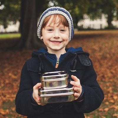boy with square salad tin