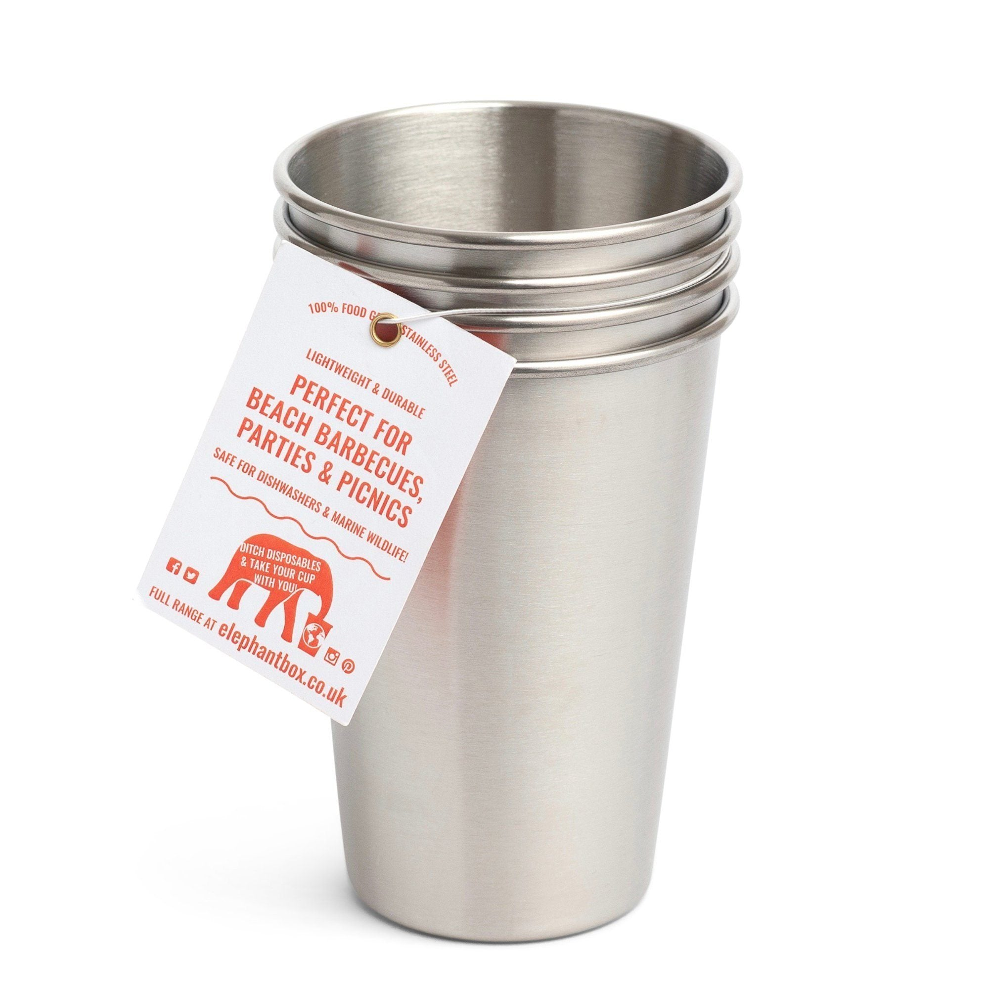 500ml Stainless steel cup - 4 pack cup Elephant Box