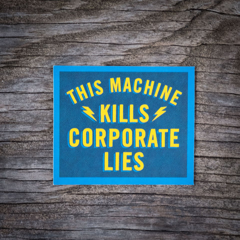 Corporate Lies Sticker Blue/Yellow