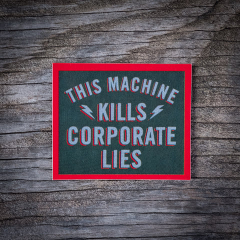 Corporate Lies Sticker Grey/Red