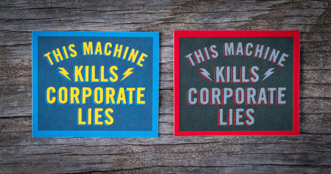 Corporate Lies Sticker Pair