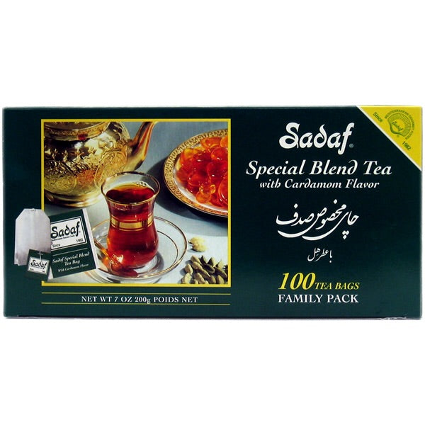 Sadaf Special Blend Tea with Cardamom 100 Tea Bags 7 oz.