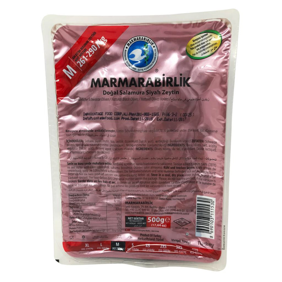 Marmarabirlik Black Olives Natural  (M) 500g