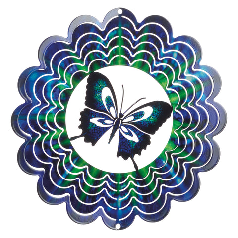 Kaleidoscope Blue Butterfly Wind Spinner