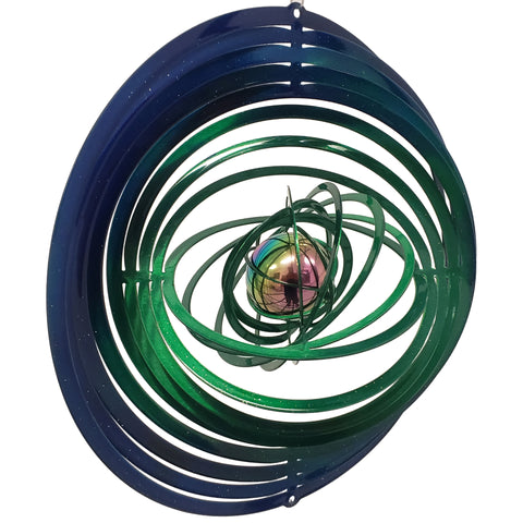 Large Wind Spinner with Gazing Ball - Blue & Green