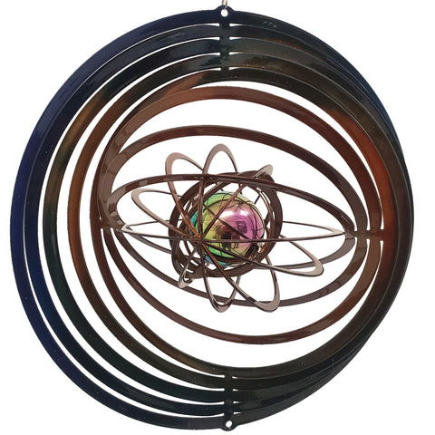 Large Wind Spinner with  Gazing Ball - Blue & Copper