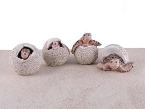 Ceramic Sea Turtle Hatchling Eggs - Loggerhead - Set of 4
