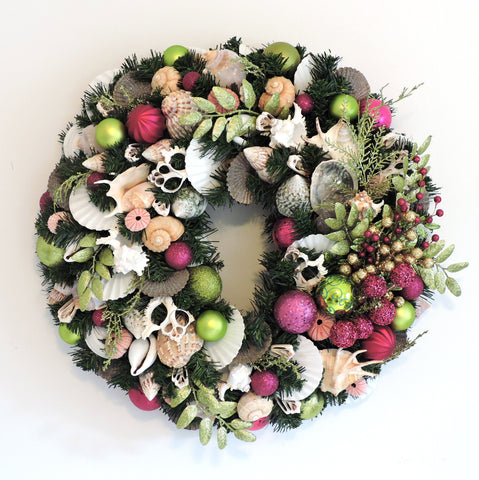 "24"" Deluxe Holiday Wreath with Pink and Green WH-2"