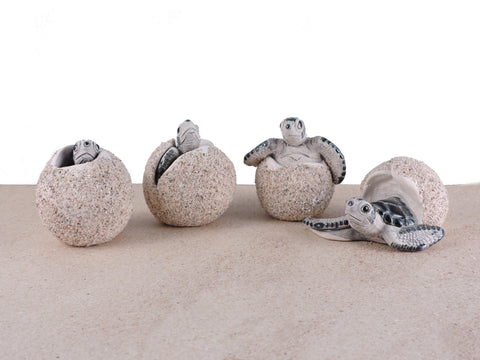 Ceramic Sea Turtle Hatchling Eggs - Green - Set of 4