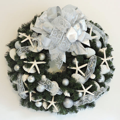 "30"" Holiday Wreath with Silver and White WH-4"
