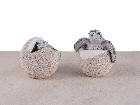 Ceramic Sea Turtle Hatchling Eggs - Kemp Ridley - Set of 2