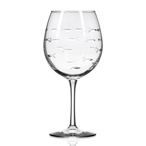 School of Fish Balloon Wine Glass, - Set of 4
