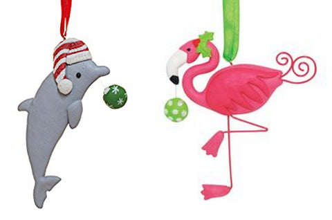 Clay Dolphin & Flamingo - Set of 2