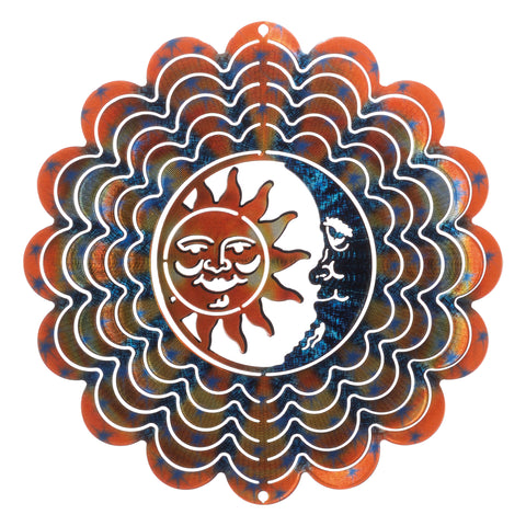 Kaleidoscope Sun & Moon Wind Spinner - Blue & Copper