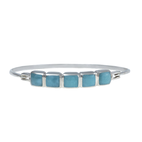 Larimar Bangle Bracelet - Five Square Stones