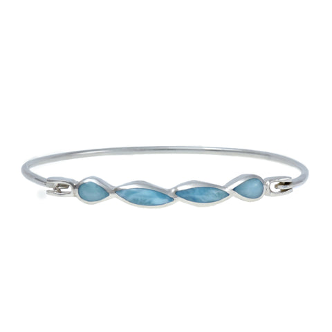 Larimar Bangle Bracelet - Four Freeform Stones
