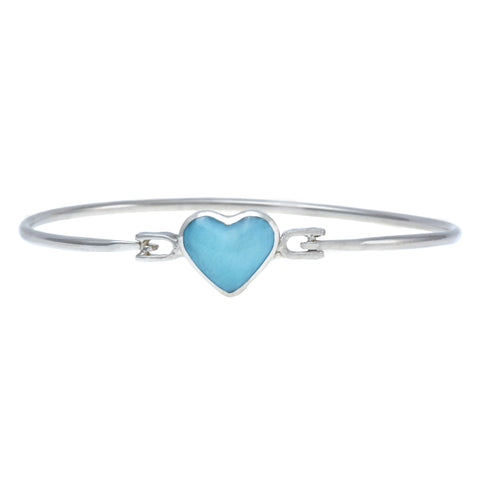 Larimar Bangle Bracelet - Heart Shaped Stone