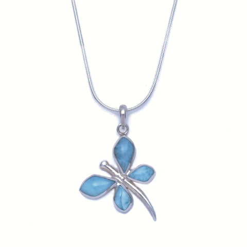 Larimar Dragonfly Pendant - Medium