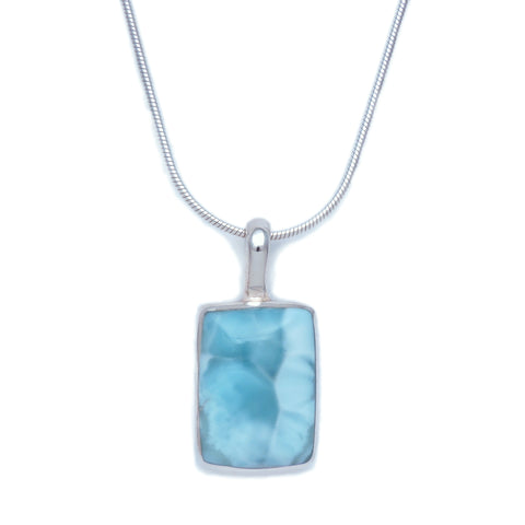 Larimar Rectangular Pendant - Small