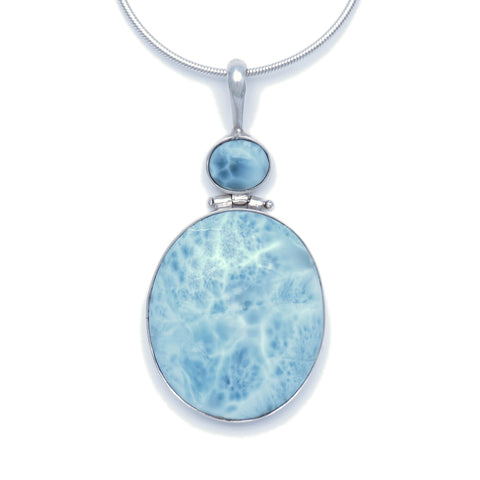 Larimar Two Stone Drop Pendant - Large