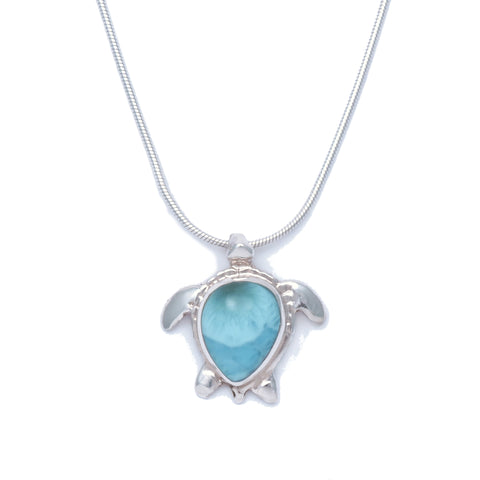 Larimar Sea Turtle Pendant - Medium