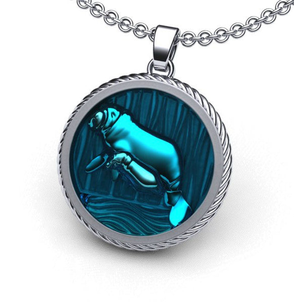 Mother and Baby Manatee Necklace