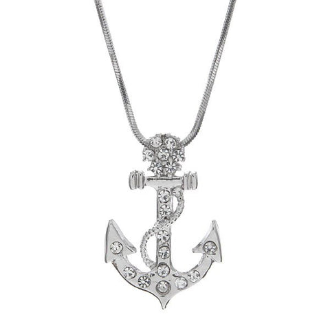 Rhinestone Large Anchor Necklace
