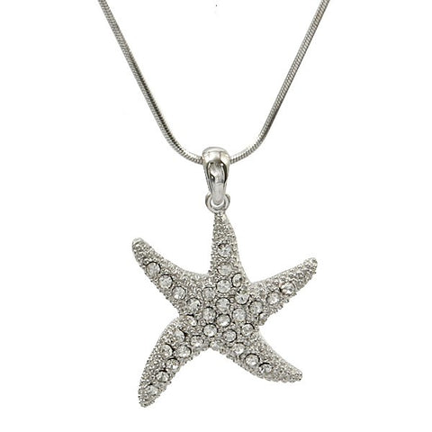Rhinestone Large Starfish Necklace