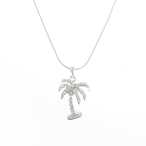 Rhinestone Palm Tree Necklace