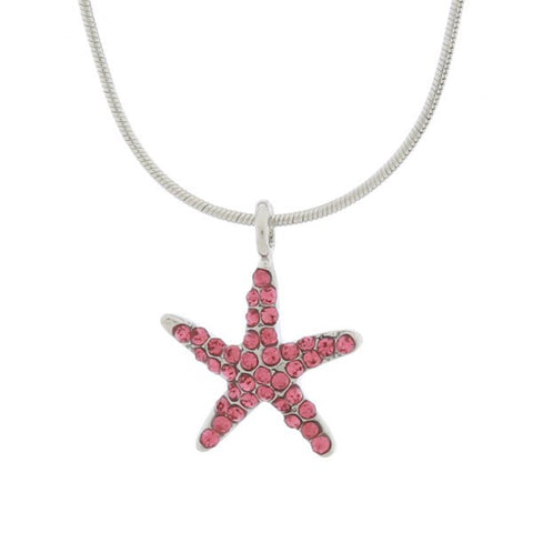 Rhinestone Small Pink Starfish Necklace