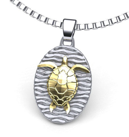 Sea Turtle on Beach Necklace