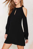 Black Cold Shoulder Backless Mini Dress