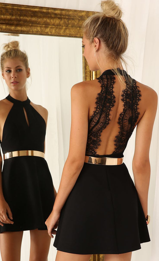 Womens Black Sleeveless Halter Contrast Lace Backless Dress Crystalline