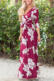 Burgundy Floral Print Self-Tie Wrap 3/4 Sleeve Maxi Dress
