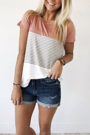 Pink Contrast Short Sleeve Vertical Stripe Tee Shirt