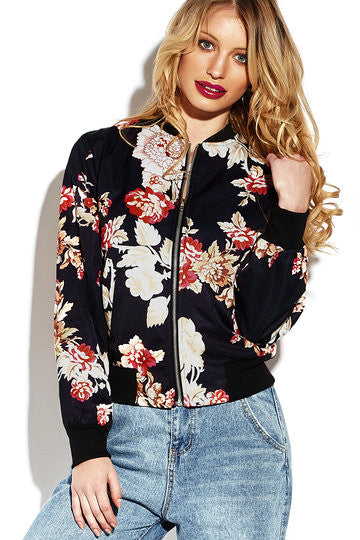 Black Floral Print Side Pockets Jacket
