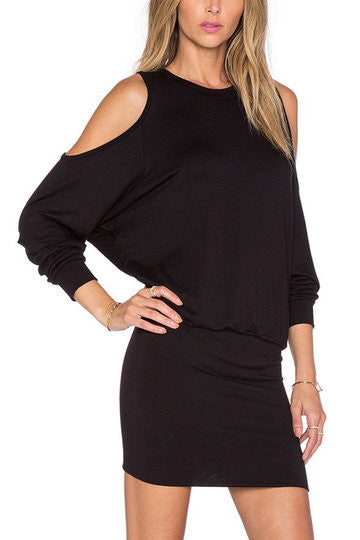 Black Knitted Cold Shoulder Mini Dress