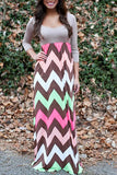Grey Wave Print Scallop Neckline 3/4 Sleeve Maxi Dress