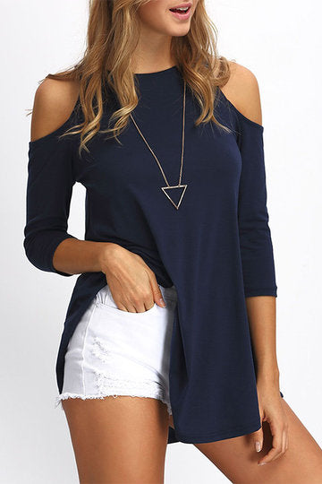 Navy Blue Round Neck 3/4 Sleeve Cold Shoulder A-Cut Top