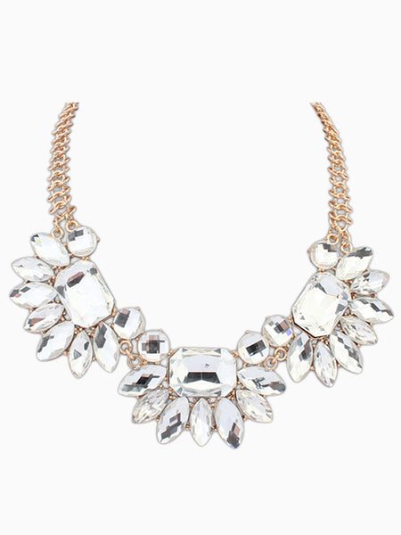 Rhinestone Embellished Statement Necklace - Crystalline