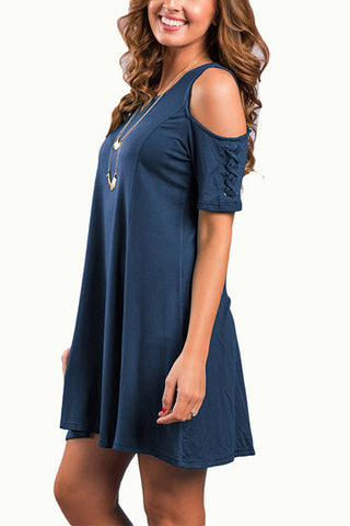 Navy Short Cold Shoulder A-Line Mini Dress
