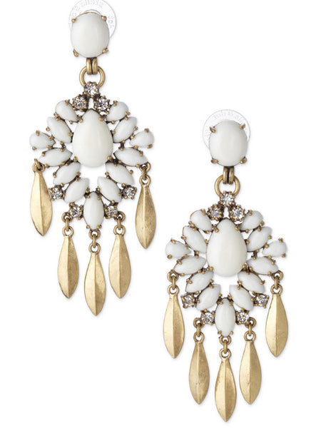 White Gemstone Drop Earring - Crystalline