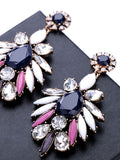 Flower Drop Earrings With Rhinestone - Crystalline