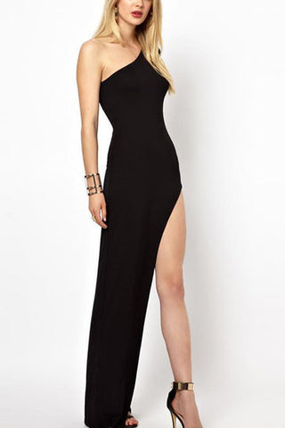 Black Long Split Hem Venus Cut Evening Dress