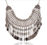 Lifestyle Boho Necklace Silver Coin - Crystalline