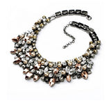 "Details Breastplate ""The Sublime"" pearl and crystal hematite necklace statement) - Crystalline"