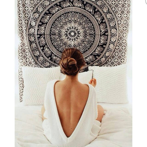 Black and White Tapestries Elephant Mandala Hippie Tapestry Indian Traditional Throw Beach Throw Wall Art College Dorm Bohemian Wall Hanging Boho Twin Bedspread - Crystalline