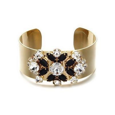Rigid CUFF BRACELET Gold plated & Crystal Flower - Crystalline